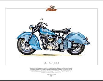 INDIAN CHIEF 1922-53 - American Motor Cycle - Fine Art Print - Classic Motorbike