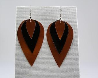 Earrings caps coffee Brown and black