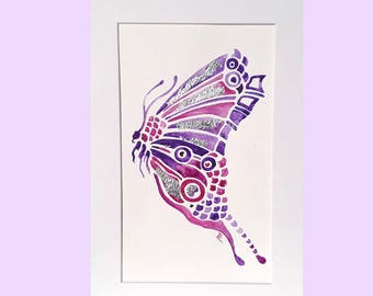 Purple butterfly painting, A4, silver foil detail, original butterfly artwork, watercolour painting, original watercolour, purple