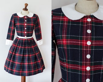 UNIQUE Handmade Vintage 1950s Style Peter Pan Dress | Red Blue Plaid Dress | Schoolgirl Collar Buttoned Dress S