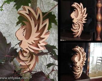 Wooden fretwork fairy-bird sculpture