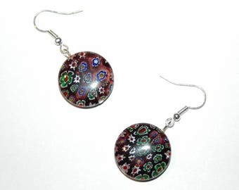 Millefiori glass earrings