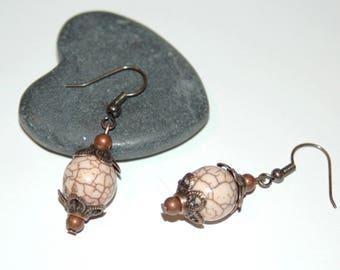 Cracked beige stone earrings