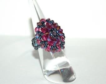 Pink and gray Swarovski Crystal ring