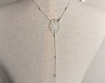 "Back wedding jewelry necklace ""Iris"" silver plated with swarovski pearls"