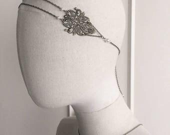 """Headband wedding bronze """"Chloé"""" with swarovski pearls"""