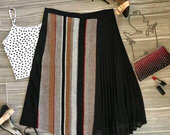 Vintage Tweed & Neutral Colored Striped Skirt