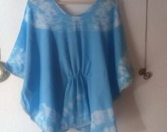 Blue poncho 100% cotton