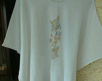 hand painted white tunic-pancho