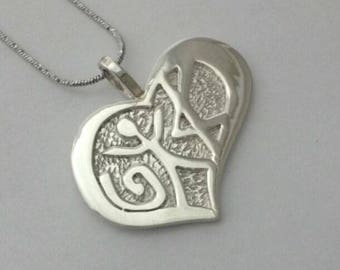 Love Pendant in Ancient Hebrew Bright Silver Designed by Marla Jean Clinesmith and Crafted by Moshe Ozery of MoJudaica