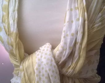 Printed pure cotton ruffled scarf