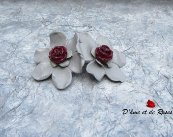6 gray and plum roses brooch
