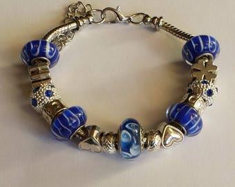 Murano/blue/silver/style pandora/glass/crystal/Shamrock/chic/gift/heart/lampwork/charm European/feminine/elegant pearl bracelet PHOEBE