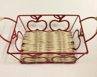 Red Apple Metal and Wicker Framed Basket