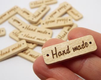 8 Natural 'Hand made'  2 Hole Wooden Buttons Tag Label 30mm