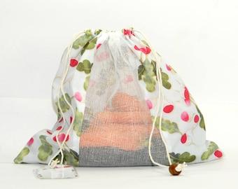 Sac à Vrac ZÉRO DÉCHET 100% Coton pour fruits et légumes Imprimé Bio RADIS n-Zero Waste Shopping Pure Coton Bag for Bulk Food Radish pattern