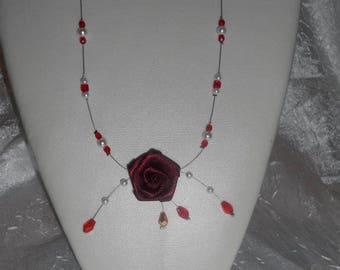 Necklace with Red satin flower and pearl beads