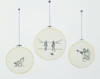 Wes Anderson Embroidery Hoop Tribute
