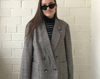 Vintage women jacket, classic jacket, vintage 80's jacket, oversized jacket, checkered jacket
