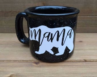 Mama Bear Campfire Mug - Winter Coffee Mug, Winter Mug, Coffee Lover Gift, Winter, Gift, Winter Decor, Gift for Mom, Mother's Day