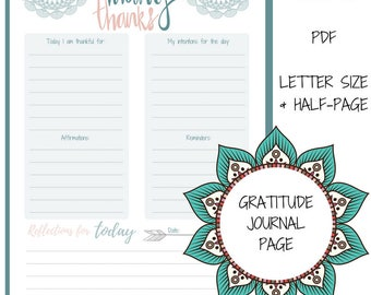 Thankful Journal | Daily Gratitude Journal Page | Boho Daily Planner PDF | Daily Reflections Planner Insert | Happy Planner Printable