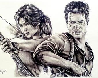 Drawing characters: tomb raider Lara Croft and uncharted Nathan Drake. black and white