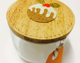 Christmas pudding decorative glass canister handmade gift
