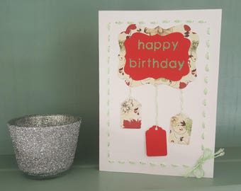 Birthday Card - Red Happy Birthday card with green stitching details