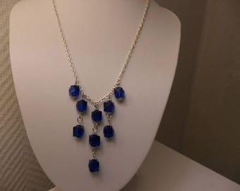 Necklace 42 cm + 5 cm silver chain, dark blue square beads.