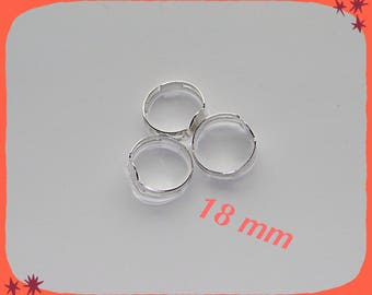 ring adjustable silver metal 18 mm