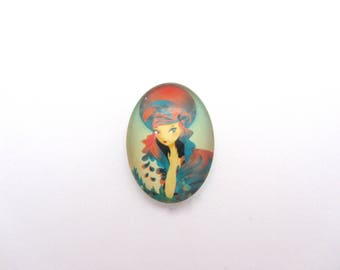 One oval illustrated glass cabochon 18x25 mm to stick