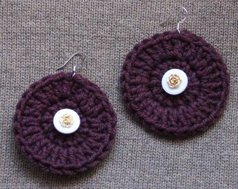 Center button and crocheted plum circle earrings