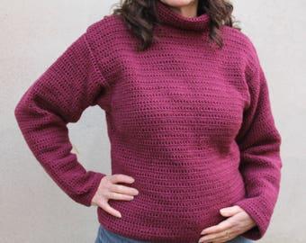 Burgundy crochet Turtleneck Sweater