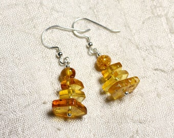 925 Silver earrings and 6-14mm natural honey amber