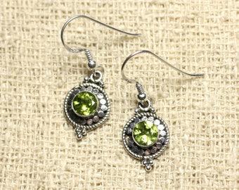 BO210 - circles 19mm Peridot 925 Sterling Silver earrings