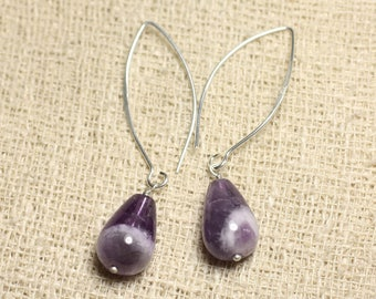 Earrings 925 sterling silver and Amethyst - stone drop 14mm