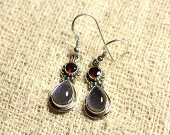 BO206 - 925 Silver 23mm Silver earrings - Labradorite & Garnet