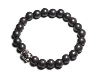 Matte Buddha and gemstone - Hematite bracelet