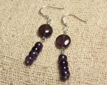 Earrings 925 Silver - Amethyst beads 10mm