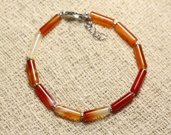 Bracelet 925 sterling silver and carnelian stone - 13mm Tubes