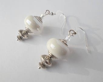 Earrings vintage silver and white ceramic beads
