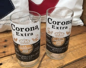 2 x Hand Finished, Recycled Beer Bottles (Corona)