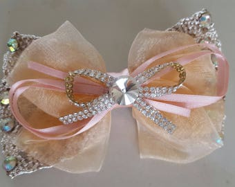 applique bow lace and organza with clip 11 x 7, 5 cm