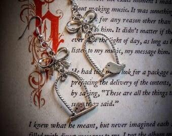 "Earrings silver tone bird perch ""Ophelia 4"""