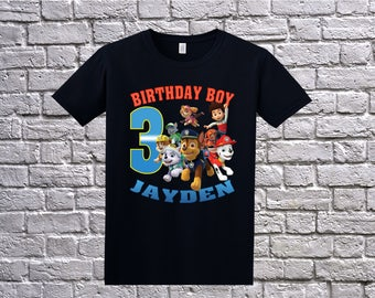 Paw Patrol Birthday Shirt, Custom Paw Patrol T-Shirt, Personalized Paw Patrol Apparel, Paw Patrol Name Age, Paw Patrol Birthday Theme Party