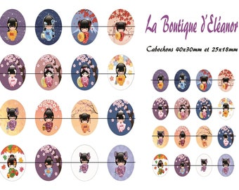 "Collage sheet printed ""chinoise2"" 40x30mm and 25x18mm cabochon"