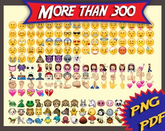 More than 300 Emoji Photo Booth Props - Printable - High Resolution, PNG and PDF Friends Party, Photoboth Party, Digital, Printable, clipart