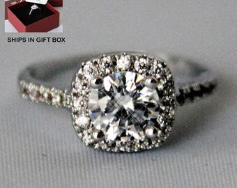 White Gold Plated Simulated Diamond CZ Halo Ring