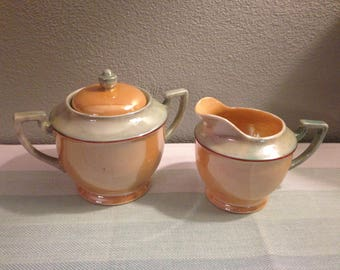 Vintage Lusterware Peach/Mint Creamer and Sugar/Made in Japan