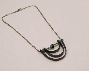 short necklace stone and recycled rubber